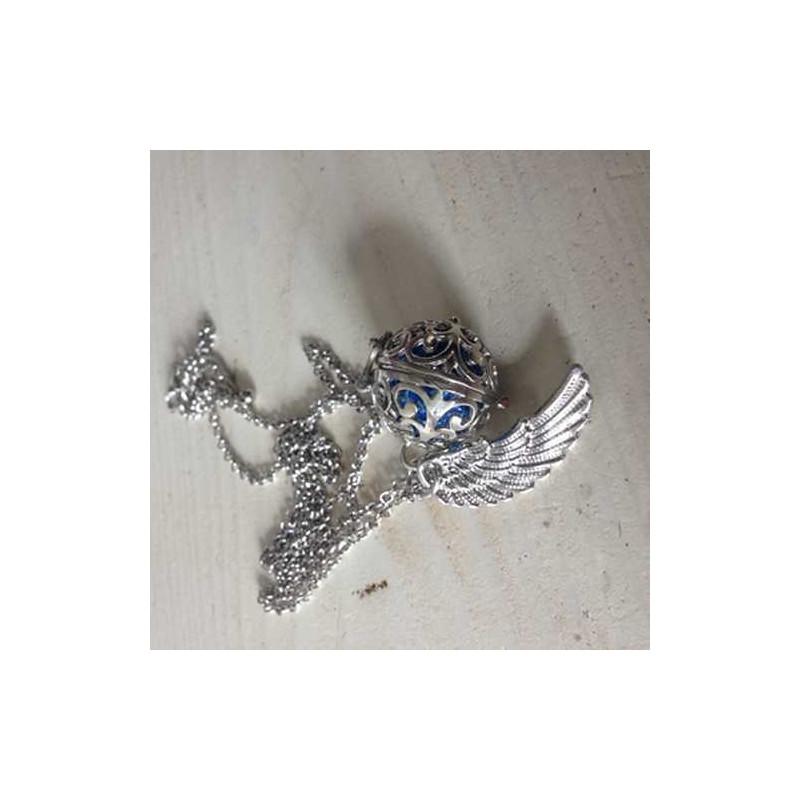 Andělský zvonek s křídlem (stříbrná barva)